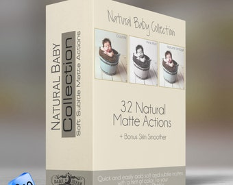 Natural Baby Collection - Photoshop  ELEMENTS  Actions - 32 soft , Subtle Mattes and Tool Actions