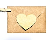 Shiny Gold Kraft Heart Decal Sticker Envelope Seals - Set of 12