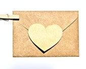 Shiny Gold Kraft Heart Decal Sticker Envelope Seals - Set of 12