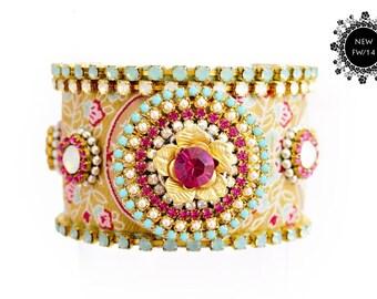 Friendship Cuff,Baroque,Swarovski,Crystal Friendship Bracelet,Wedding Jewelry,Festival Cuff,bohemian,gypsy style,Ethnic,aztec/Made To Order