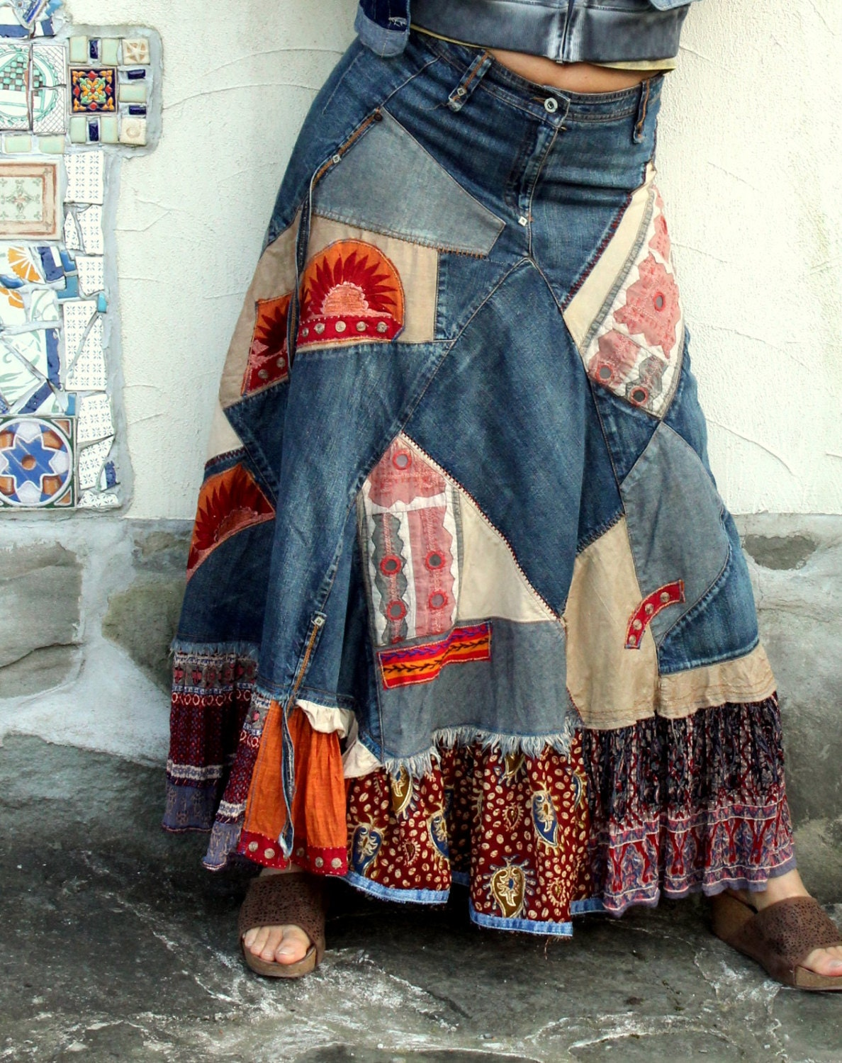 Crazy Banjara Patchwork Recycled Denim Long Skirt Hippie Boho