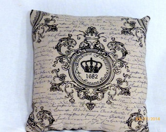 Paris pillow - Crown Pillow - black and White - Vintage French Pillow - Decorative Throw Pillow - 12X12 stuffed ready to use