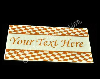 Brown Checkers - White Cotton Custom Printed Labels / Sew in Clothing labels / Personalized Fabric Labels - For Crochet, Knit, Sewing