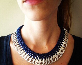 Crochet Soda Pop Tab Necklace - Navy Blue