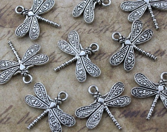 10 Dragonfly Charms Dragonfly Pendants Antiqued Silver Tone Double Sided 15 x 21 mm