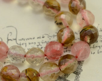 Fire cherry quartz faceted round(64 faces) beads 6 mm,15 inches full strand