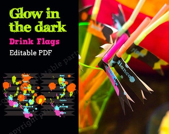 Glow in the Dark Party Neon Color Drink Flags - editable PDF - add your own text