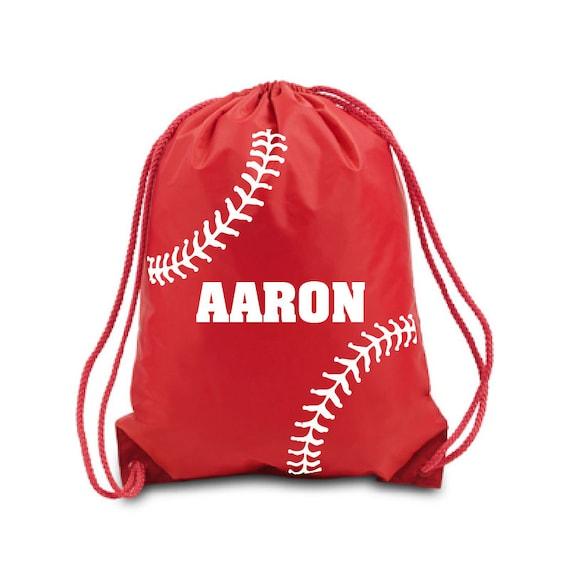 Swim Lesson Bag: Personalized Drawstring Bag. Baseball Nylon Drawstring