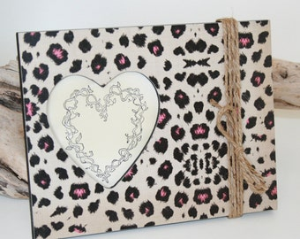 Animal Print Decor, Picture frame, Leopard Photo frame, Pink and cream photo, Graduation gift
