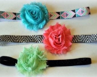 AZTEC AND TRIBAL set of three shabby rose headbands
