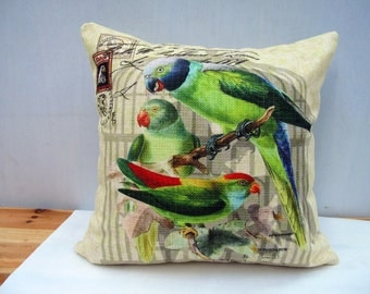 Linen pillow cover Throw Pillow Cover decorative pillow cushion cover birds pillow double sides design