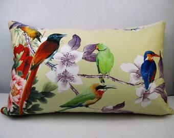 Indian Ringneck parakeet decorative  rectangle velvet throw pillow cases cushion covers  flower bird optional sizes/for car/sofa/house