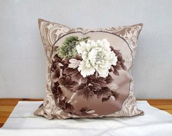 Decorative Velvet Pillow Cushion Cover Peony Double Sides Floral Design Artwork