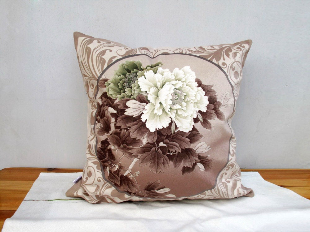 Decorative Velvet Pillow Cushion Cover Peony Double Sides