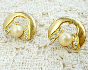 Vintage Pearl and Rhinestone Gold Earrings, Costume Jewelry, Post Backing