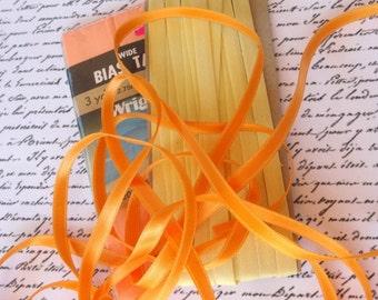 Orange, Yellow, Peach Vintage Ribbon, Bias Tape, Gift Wrap, Embellishment, Packaging, Sewing Supplies