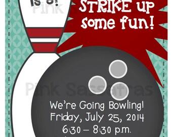 Boy's Bowling Birthday Invitation