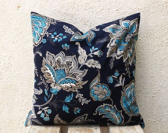 Pillow Case - Blue and Beige Floral Print on Navy - 16x16 - 1 pair - ct94A