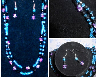 "17"" blue, magenta and black 2 strand necklace with earrings."