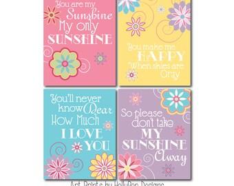 Floral Nursery Quad Song Print Set You are my Sunshine Wall Decor Pink Purple Aqua Yellow Set of 4 Prints Baby Girl Nursery Decor