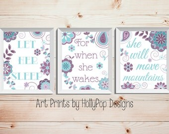 Girl Nursery Art Purple Aqua Teal Nursery Decor Let Her Sleep Quote Baby Girl Wall Art Toddler Girl Bedroom Decor Floral Nursery Prints