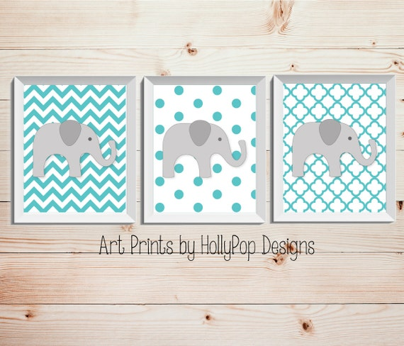 Elephant Twin Nursery Wall Art Nursery Room Decor For Twins: Nursery Wall Decor Aqua Gray Neutral Nursery By