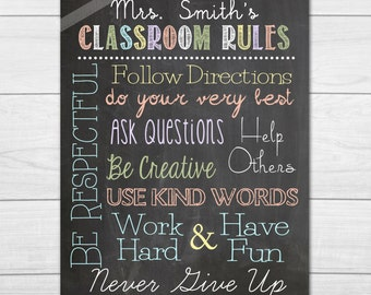 Customized Classroom Rules Poster Printable--8x10, 11x14, 16x20 (custom sizes & colors upon request)