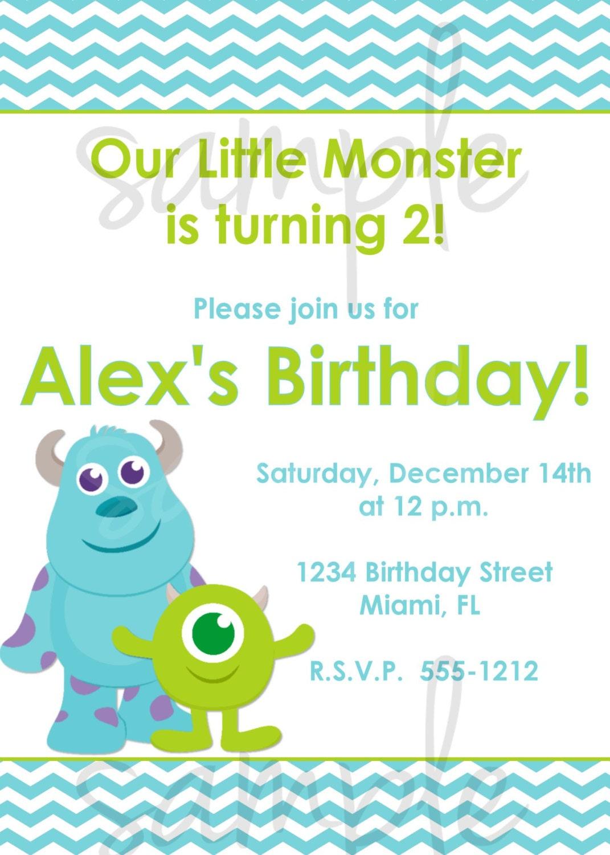 Monster Inc Birthday Invitation Inspired monsters inc