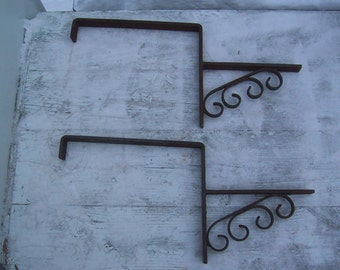 Pair of Large Vintage Wrought Iron Planter Brackets