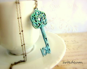 Blue Skeleton Key Necklace on Antique bronze beaded chain vintage heart key pendant Valentines day gift for her