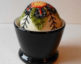 Handmade Pincushion Exotic Blossom Felted Wool in Black Container