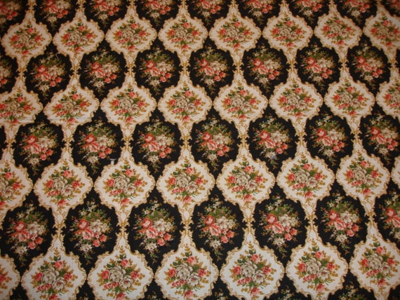 Sale Antique French Floral Fabric Early 1920 S Black
