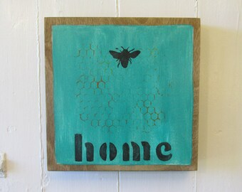 Hand Painted Art Blocks 8x8, Bee Home, Turquoise with Honeycomb