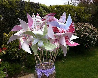 Paper pinwheels windmills KIT - Alice, bunting, tea party , wedding