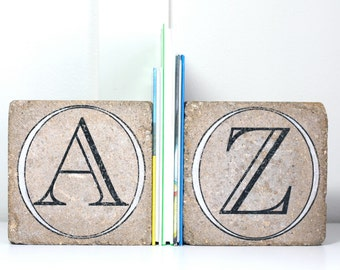 Bookends- Personalized Letters/  Nursery Decor/ Child Bookend/ Rustic Bookends/ Initials/ Alphabet Bookends