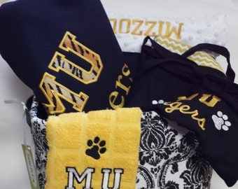 Personalized College Gifts- blankets.pillowcases, aprons, hand towels, towel wraps too!