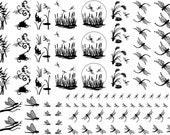 """Dragonfly Scenes Black Silk Screen Enamel Fused Glass Decals 5""""X7"""" Card 14CC317"""
