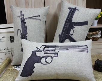 Retro Vintage Gun Cotton Linen Home Decor Pillow