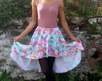 SPRING SALE HiLo Skirt, Waterfall Skirt, Floral Skirt, Mullet Skirt, asymmetrical skirt. The earth laughs in flowers.