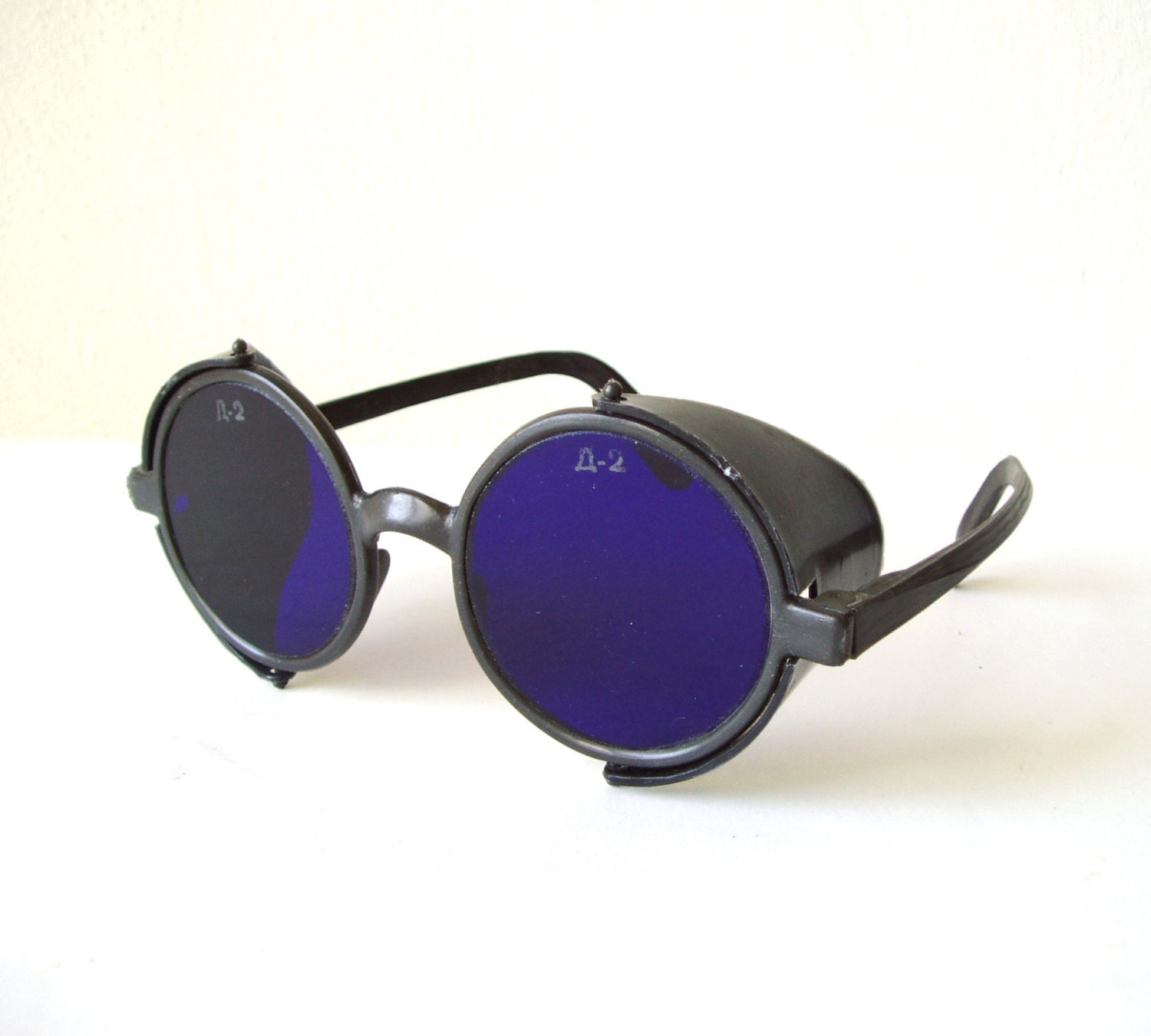 Eyeglass Frame Welding : Dark Blue Glass Welding Goggles Vintage Steampunk Spectacles