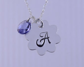 Little princess - flower girl necklace with Swarovski crystal bead and her initial on flower tag