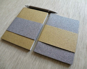 Textured Notebooks - Buy one or as a Set of two ('Astral' Gold / Silver notebook)