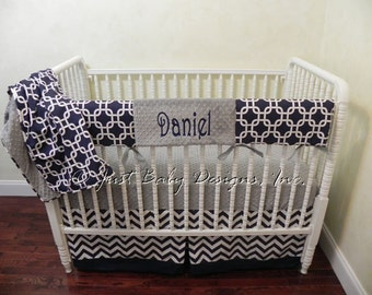 Bumperless Crib Bedding Set Daniel - Boy Baby Bedding, Crib Rail Cover, Navy Chevron and Gray