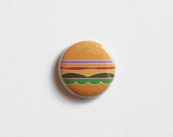 """1"""" Cheeseburger Pinback Button"""