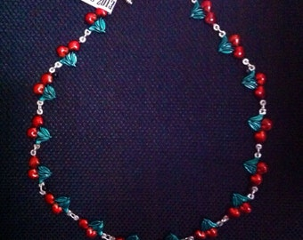 Sweet Cherry Tattoo Necklace COLOURED!