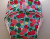 """Aqua polka dot doll diaper set with poop, pee and wipes for 18"""" or smaller baby."""