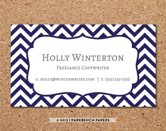 Business Card Template - Navy Chevron -  DIY Editable Word Template, Instant Download, Printable