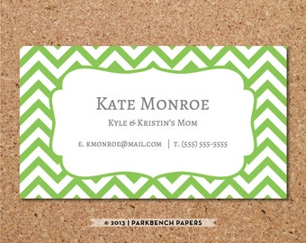 Business Card Template - Lime Chevron -  DIY Editable Word Template, Instant Download, Printable