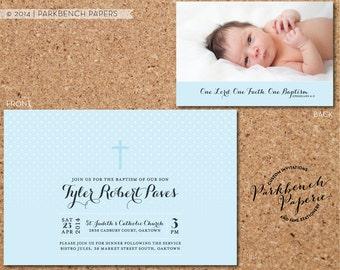 Baptism, Christening, or First Communion Invitation - Blue Dots Photo Design - Digital File, Printable, Customized