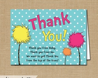 Dr Seuss Lorax Thank You Card - Instant Download